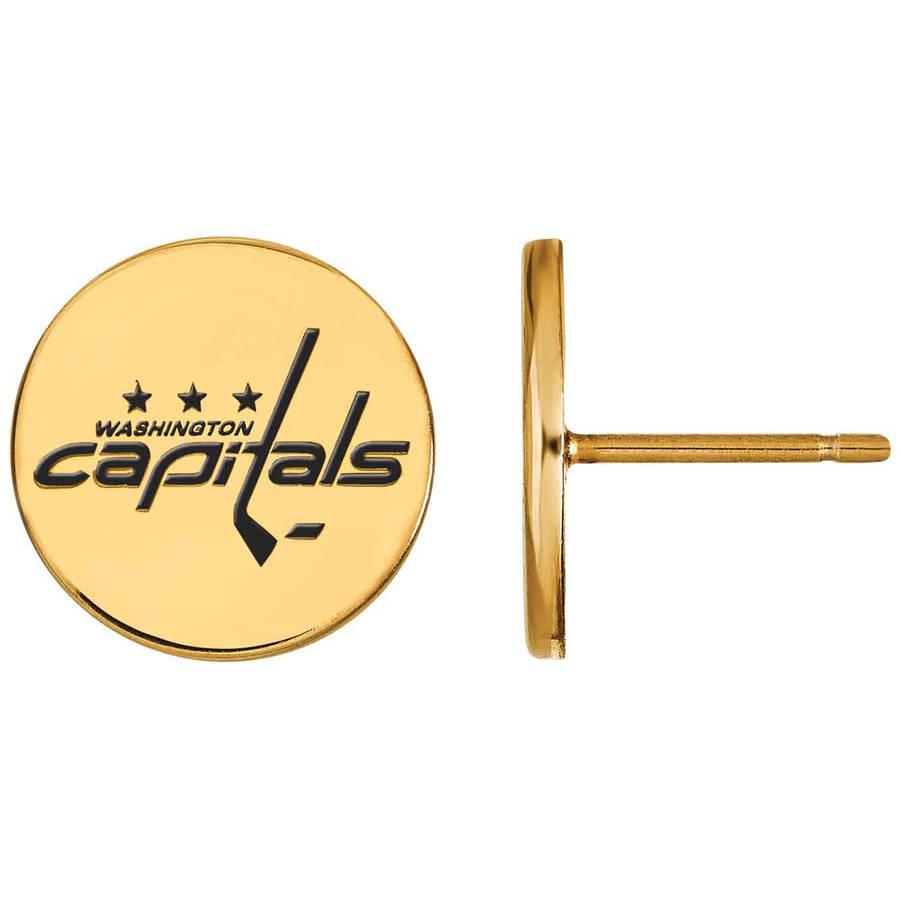 LogoArt NHL Washington Capitals 14kt Gold-Plated Sterling Silver Small Enamel Disc Earrings