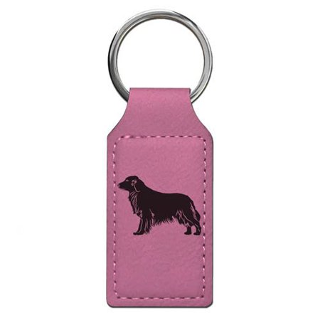 Keychain - Golden Retriever Dog - Personalized Engraving Included (Pink Rectangle)