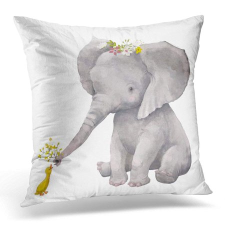 ARHOME Colorful Watercolor Cute Elephant with Floral Wreath and Little Duck Water Pillow Case Pillow Cover 20x20