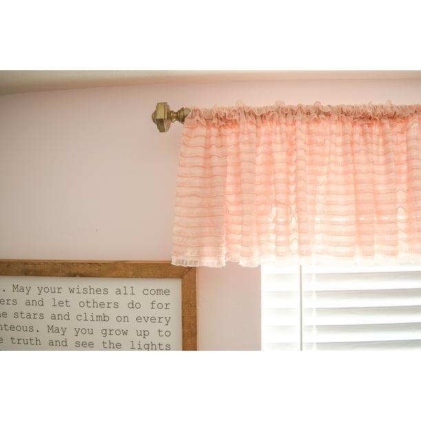 Blush Pink Ruffle Valance Window