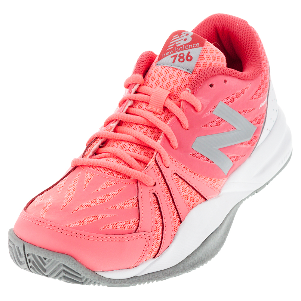 Women`s 786v2 B Width Tennis Shoes Guava and White