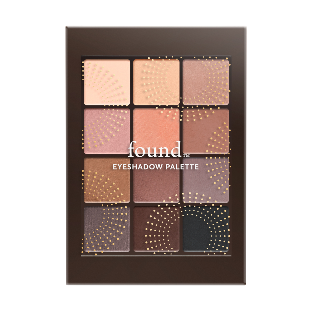 FOUND 12 Piece Eyeshadow Palette with Bamboo and Rice Powder, 10 Nude, 0.23 fl oz