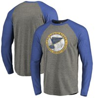 St. Louis Blues Fanatics Branded Big & Tall Throwback Vintage Logo Tri-Blend Long Sleeve Raglan T-Shirt - Ash