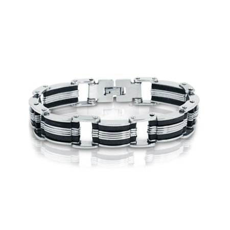 Stainless Steel with Black Rubber Mens Chain Link Bracelet 8 inch Chain Rubber Stainless Steel Bracelet