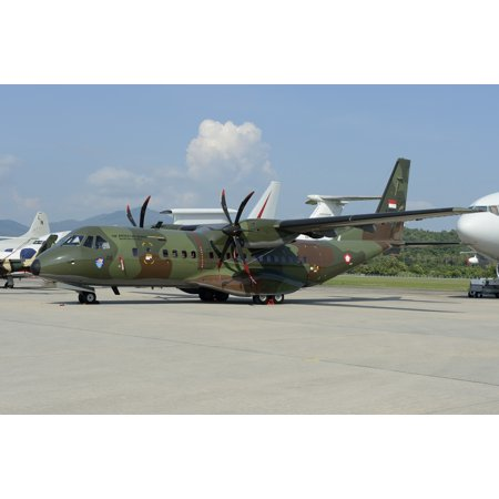 March 26 2013 - An EADS CASA C-295 aircraft of the Indonesian Air Force on static display at Langkawi Airport Malaysia Poster Print