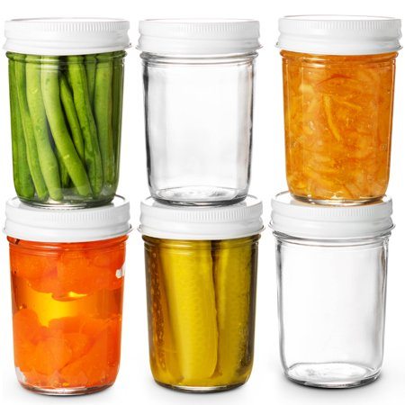 Clear Glass Mason Jars Full Mouth - 8 Ounce - (6 Pack) Glass Jars with Metal Lids Perfect Meal Prep, Food Storage, Canning, Drinking Jars, for Jelly, Jam, Dry Food, Spices, Herbs, Salads, Yogurt