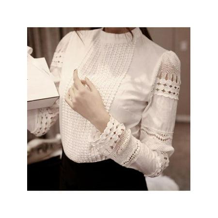 Women Slim Hollow Out Back Zipper Lace Long Sleeve Elegant Blouse Back Zipper Long Sleeve