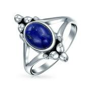 Balinese Bali Style Oval Gemstone Blue Lapis Rainbow Moonstone Ring for Women Teen Split Shank Band .925 Sterling Silver