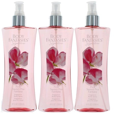 Sweet Pears (Pink Sweet Pea Fantasy by Body Fantasies 3 Pack 8oz Fragrance Body Spray)