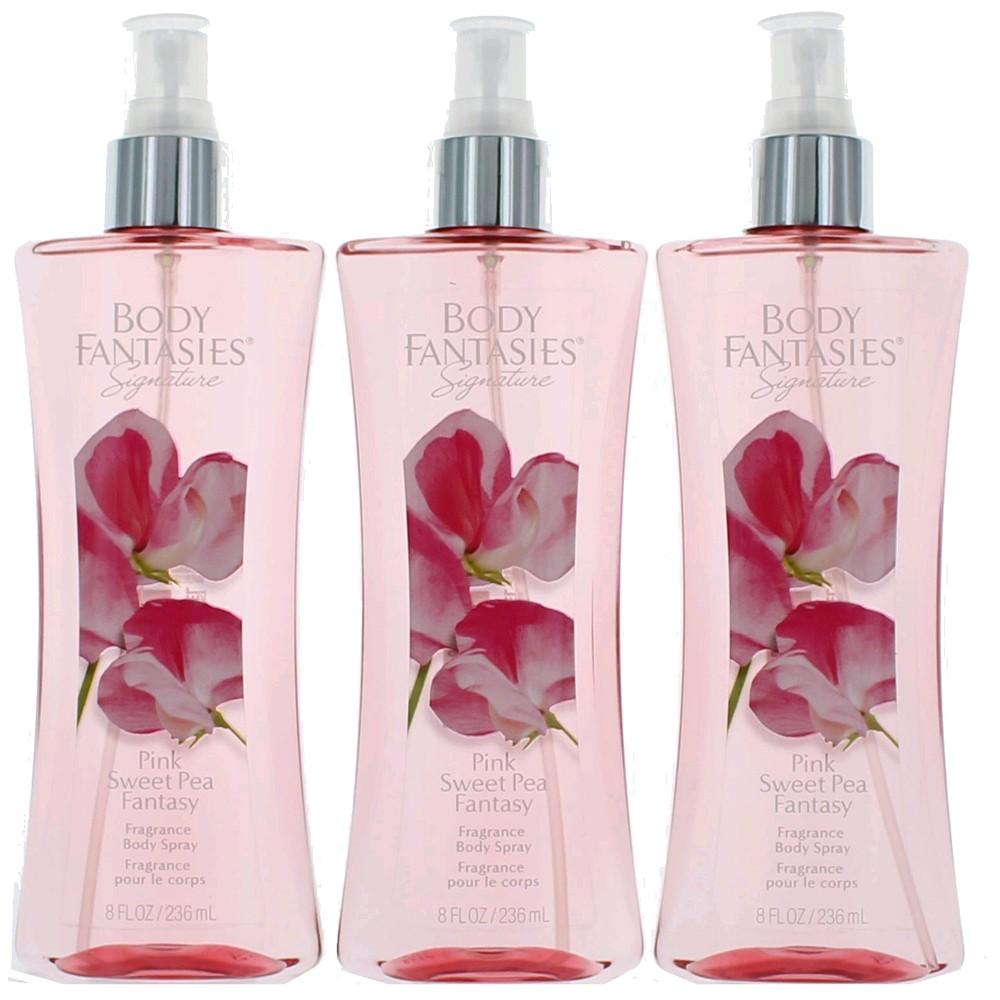 Pink Sweet Pea Fantasy by Body Fantasies 3 Pack 8oz Fragrance Body Spray women