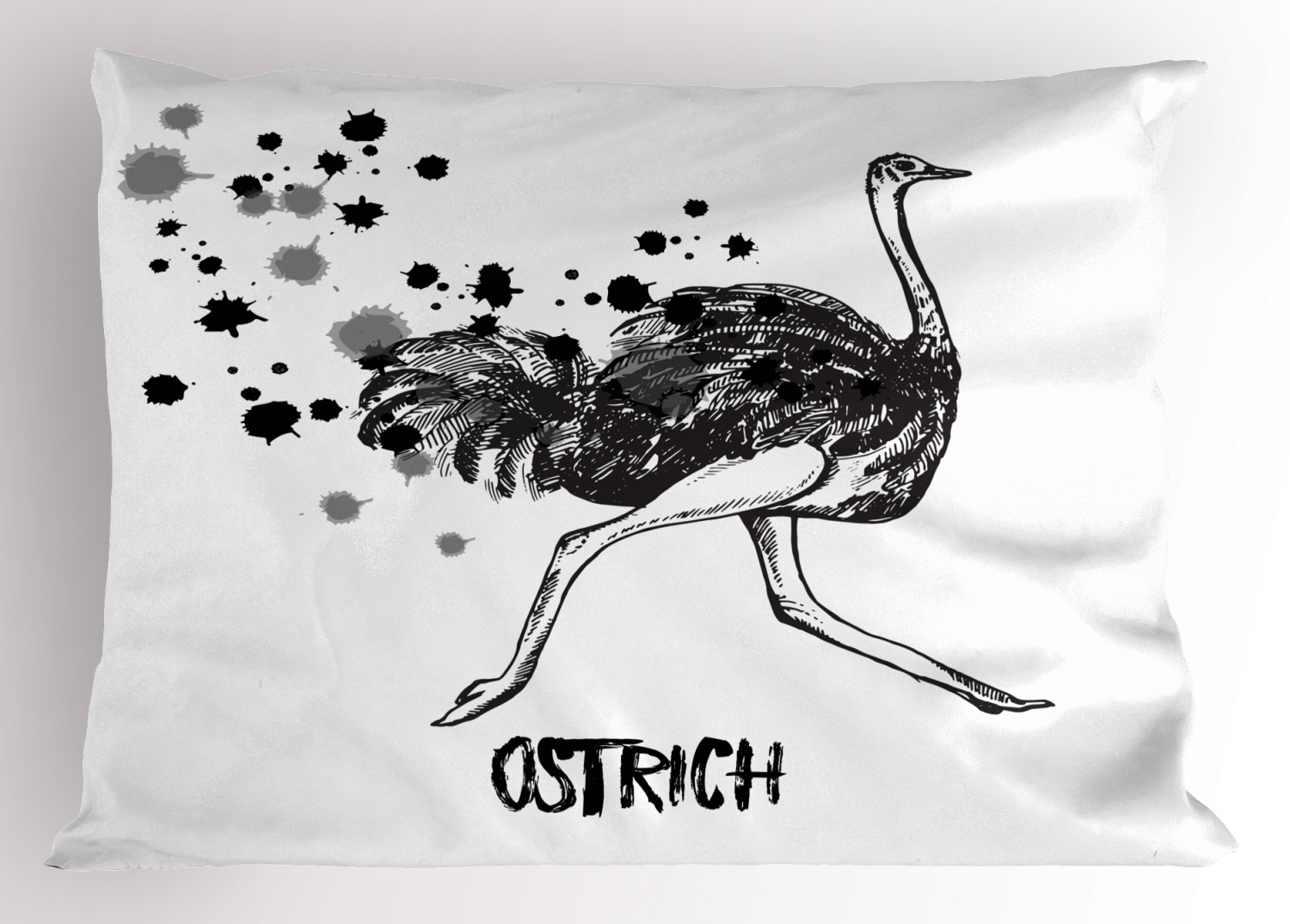 Ostrich Pillow Sham Minimalist Style Animal Bird In Watercolor Sketch Zoo Feathered Mammal Print Decorative Standard Size Printed Pillowcase 26 X 20 Inches Black White Grey By Ambesonne Walmart Com Walmart Com