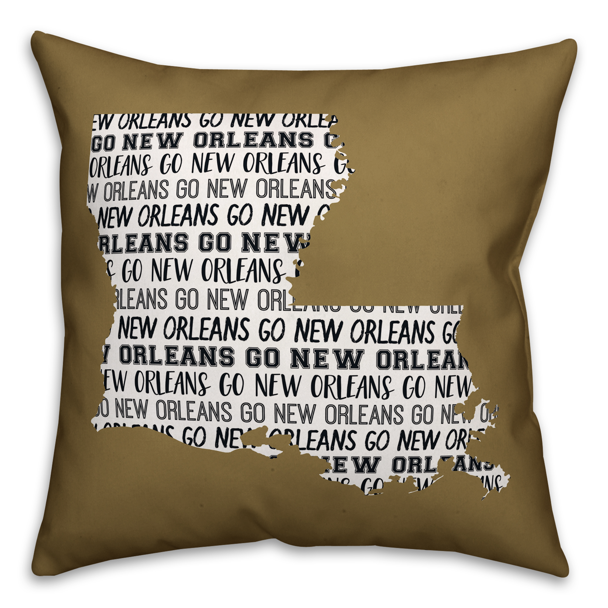 Tan Louisiana Go Team  16x16 Spun Poly Pillow