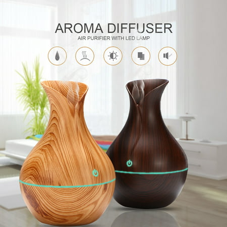 130ml&300ml Cool Mist Humidifier, Wood Grain Portable Ultrasonic Aromatherapy Diffuser Cool Mist Humidifier with 7 Color LED Lights for Office Home Room Study Yoga