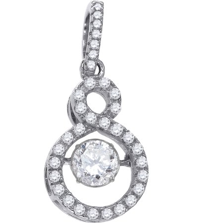 Sparkle Shades - 925 Sterling Silver Womens Sparkling Shaking CZ in Infinity Pendant Charm