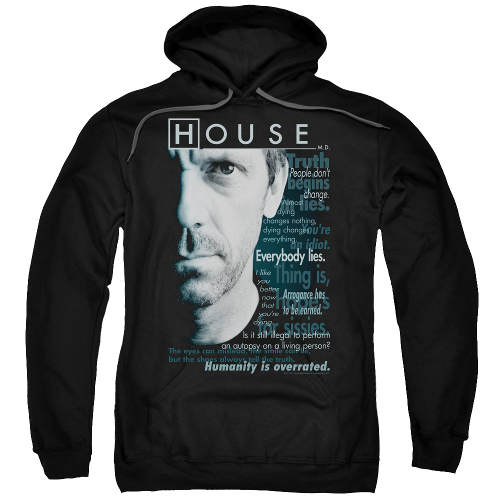 HOUSE/HOUSEISMS-ADULT PULL-OVER HOODIE-BLACK-LG