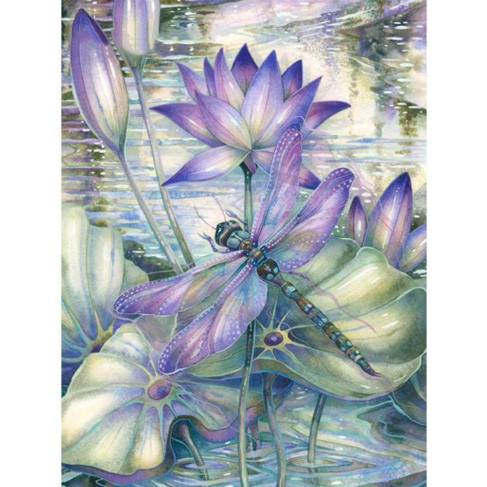 Girl12Queen Ethnic Dragonfly on Lotus Full Diamond Painting DIY Handmade Art Wall Decoration