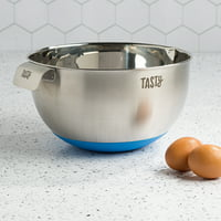 Tasty 5 Quart Stainless Steel Mixing Bowl with Non-Slip Base and Measuring Marks, Blue