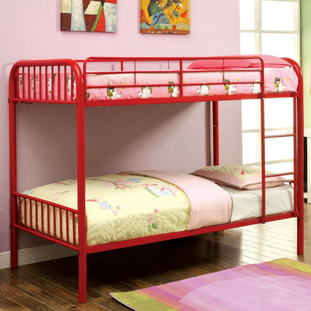 furniture of america linden ii 2 piece twin over twin metal bunk bed with trundle set. Black Bedroom Furniture Sets. Home Design Ideas