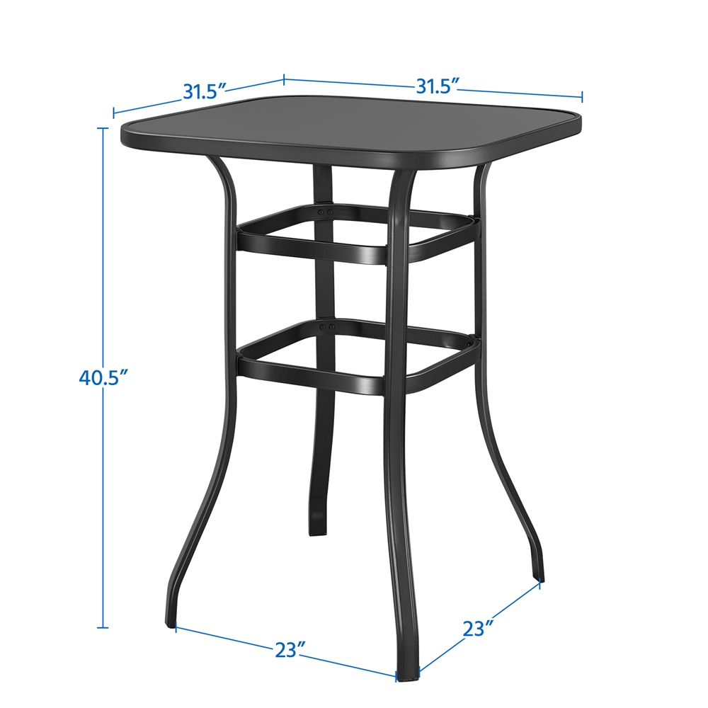 Topeakmart Outdoor Patio Bistro Table, Outdoor Bar Height Glass Top Table