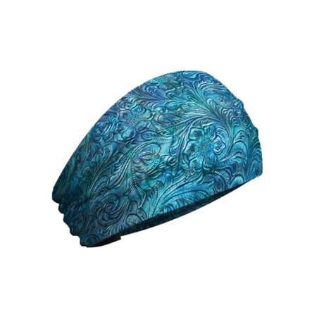 That's A Wrap Women's Tooled Leather Look Knotty Band Headwrap, KB3025-Blue - Genuine Leather Headwrap