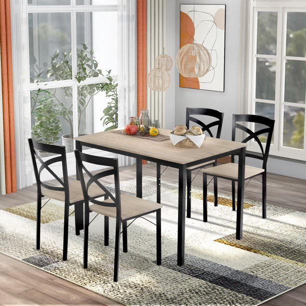 5 Pieces Dining Set Industrial Style Dining Table Set With 4 Chairs Minimalist Dining Table And