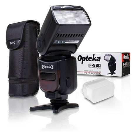 Opteka Pro i-TTL Auto-Focus Speedlight Flash with LCD Display Carrying Case / Diffuser / Table Stand for Nikon D850 D7500 D5600 D3400 D500 D5 D7200 D5500 D750 D810 D3300 D4S D5300 Df D610 D7100