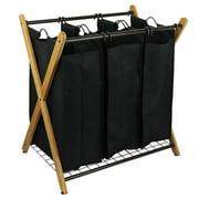 OceanStar Design Group X-Frame Bamboo 3-Bag Laundry Sorter