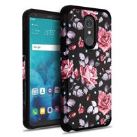 Phone Case for Lg Stylo 4 - Phone Case Shockproof Hybrid Rubber Rugged Case Cover Slim Pinky White Rose
