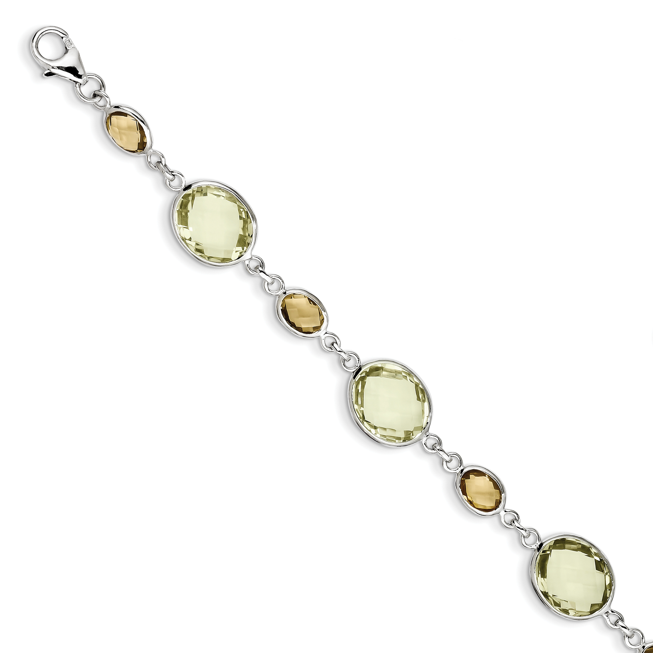 Sterling Silver 7.5in. Lemon Quartz and Citrine Oval Bracelet by Core Silver