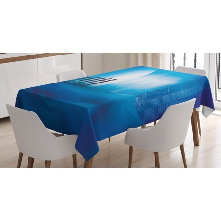 Evolution Tablecloth, Transition from Nature to the City and Technology, Rectangular Table Cover for Dining Room Kitchen, 52