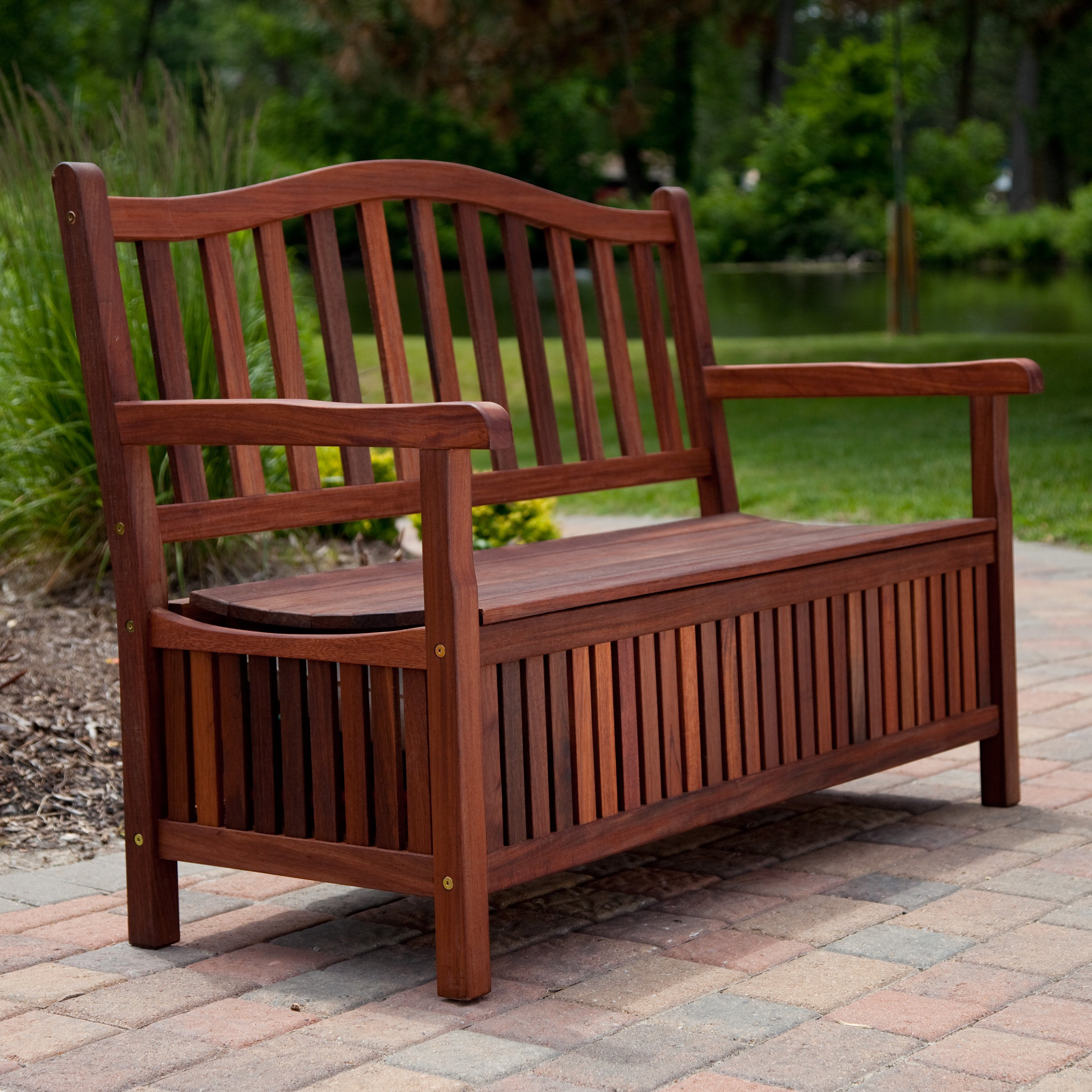 Ordinaire Curved Back Outdoor Wood 30 Gallon Storage Bench   Walmart.com