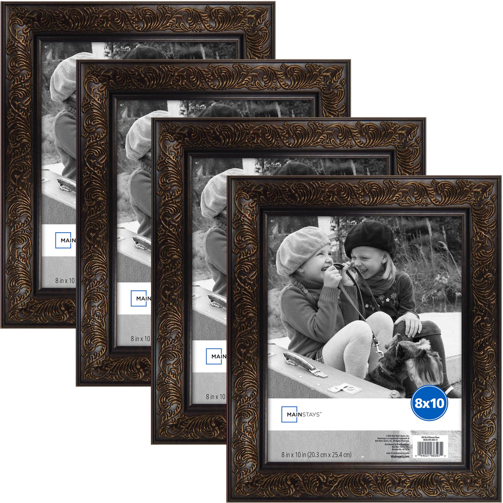 "Mainstays 8"" x 10"" Vine Frame Set, Pack of 4, Bronze Finish"