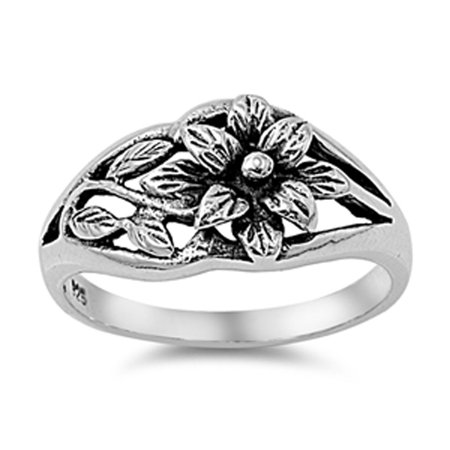 Oxidized Flower Hawaiian Plumeria Leaf Ring ( Sizes 3 4 5 6 7 8 9 10 11 12 13 ) .925 Sterling Silver Band Rings by Sac Silver (Size 11)