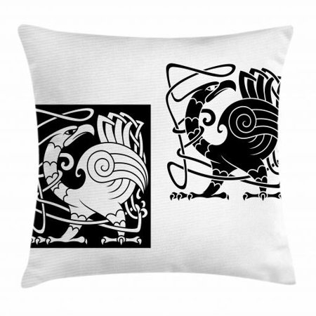 Celtic Throw Pillow Cushion Cover, Bird Silhouettes Fantastic Animals with Tracery Inspired Ornamental Pattern, Decorative Square Accent Pillow Case, 18 X 18 Inches, Black and White, by Ambesonne ()