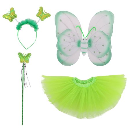 Kids' Fairy Wings Tutu Wand Headband Set for Halloween, Garden Party, Green