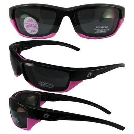 Birdz Eyewear Oriole-2 Padded Motocycle Riding Sunglasses Black and Pink Frame Smoke Lens With Removable Foam (Sunglasses With Removable Lenses)