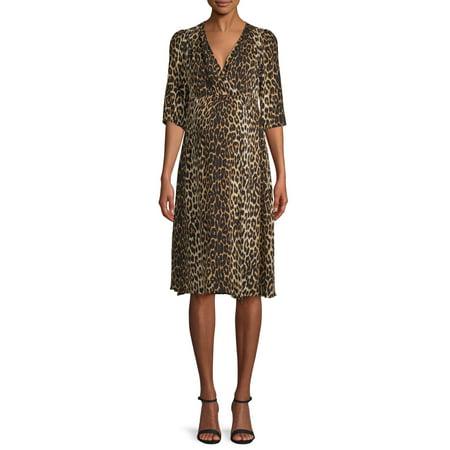 Love Sadie Maternity Women's Leopard Print Wrap Front Dress Womens City Style Leopard