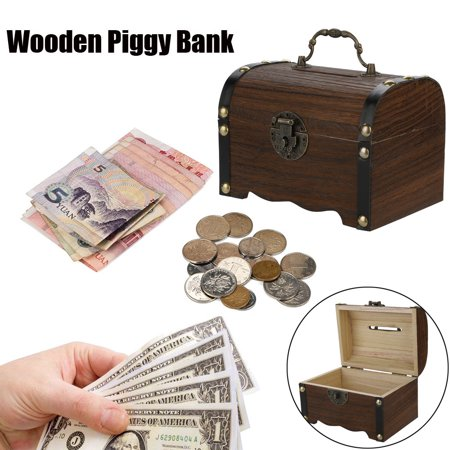 Adult Piggy Bank (Outtop Wooden Piggy Bank Safe Money Box Savings With Lock Wood Carving)