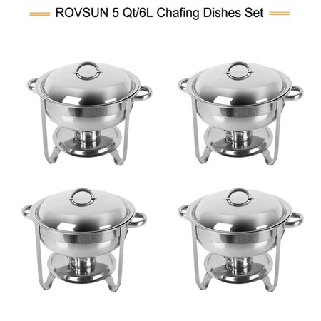 ROVSUN 5 Qt 4 Packed Full Size Upgraded Stainless Steel Chafing Dish Buffet Silver Round Catering Warmer Set with Food and Water Trays,Mirror Cover,Thick Stand Frame for Kitchen Party Banquet - Buffet For Sale