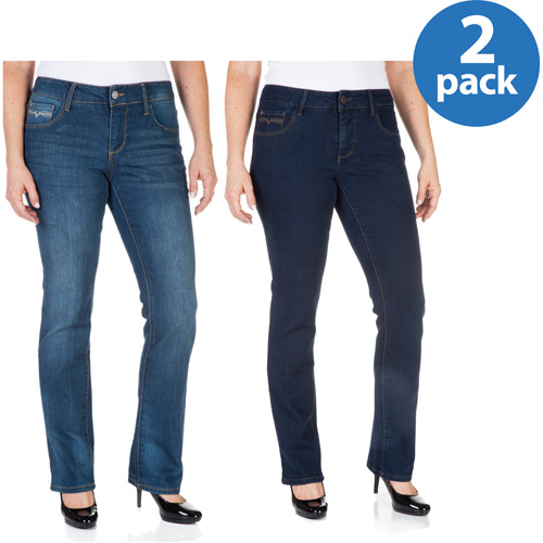 Faded Glory Women's Easy Fit Straight Leg Jeans available in Regular and Petite 2 Pack Value Bundle
