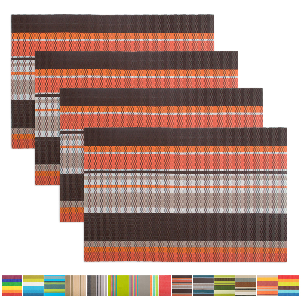 Aspire 4PCS Easy to Clean Exquisite Woven Placemats-H Brown1