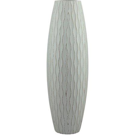 Stonebriar Collection Large Weathered Pale Ocean Wood Vase Large Flared Vase