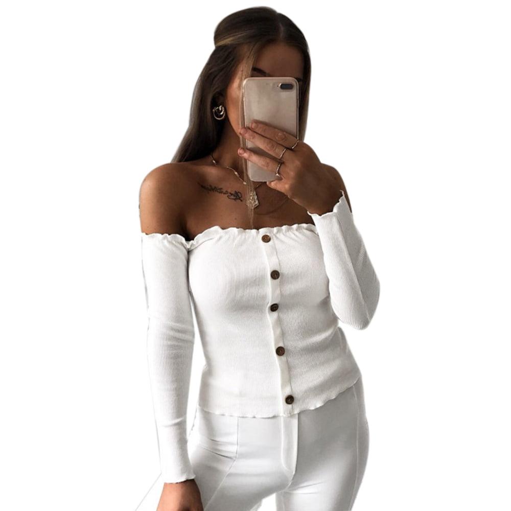 5a877f1247ffc UKAP - Asian size Women s Sexy Off Shoulder Long Sleeve Button Down Crop  Tunic Tops Blouse Shirt - Walmart.com