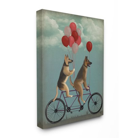 The Stupell Home Decor Collection German Shepard Dogs On Bicycle with Balloons Oversized Stretched Canvas Wall Art, 24 x 1.5 x 30