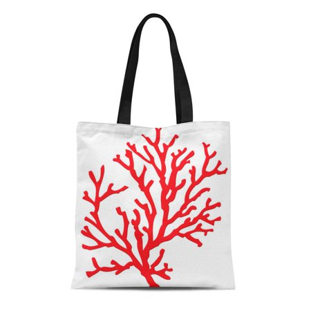 ASHLEIGH Canvas Tote Bag Chic Red Coral Tropical Tropics Modern Contemporary Ocean Reusable Handbag Shoulder Grocery Shopping Bags - Coral Tote Bag