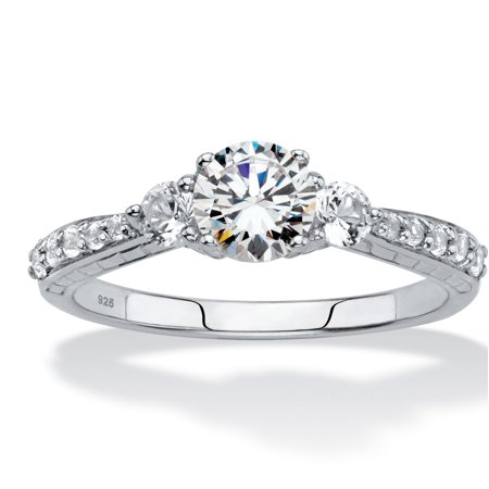 Platinum Promise Rings (Round Created White Sapphire 3-Stone Promise Ring 2.56 TCW in Platinum over Sterling Silver )