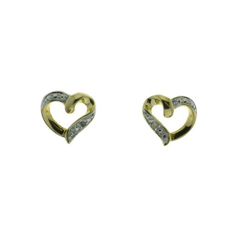 Diamond Accent Open Heart 10kt Gold over Sterling Silver Stud Earrings