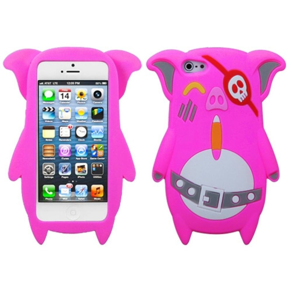 Insten Pig Rubber 3D Cover Case For Apple iPhone 5/5S/SE - Hot Pink/White