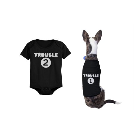 Trouble 1 Pet Shirts and Trouble 2 Baby Bodysuits Matching Dog and Infant Apparel](Dog Onesie)