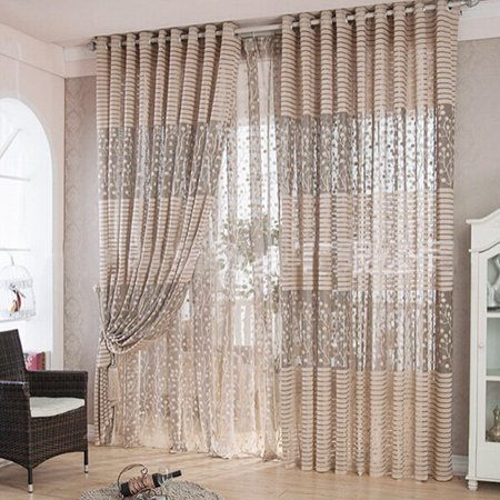 Meigar Modern Room Tulle Window Door Curtain Balcony Drape Panel Sheer Scarfs Valances for Living Room Bedroom Home Decor ()